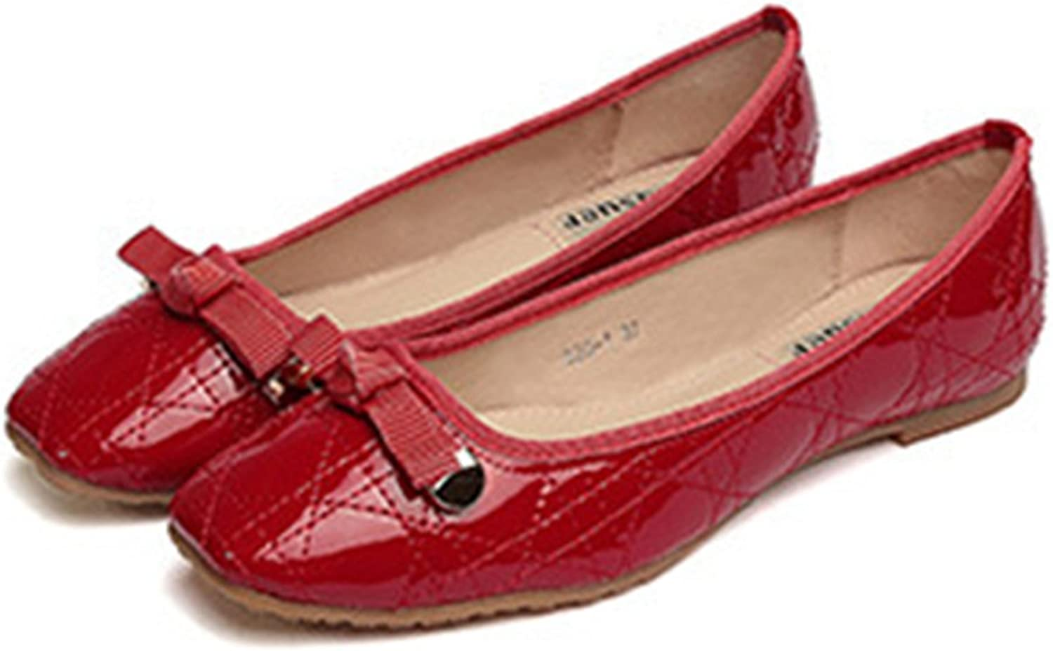 Casual Metal Lace-up Bowknot Plus Size Flat Thin shoes red 41