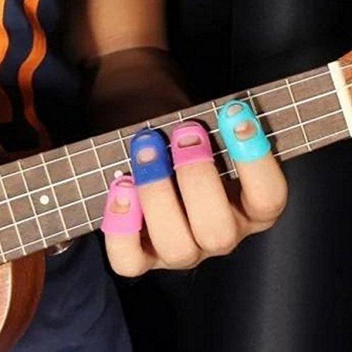NiceButy4 in 1 Gitarre Fingertip Protectors Silikon Fingerschutz für Ukulele