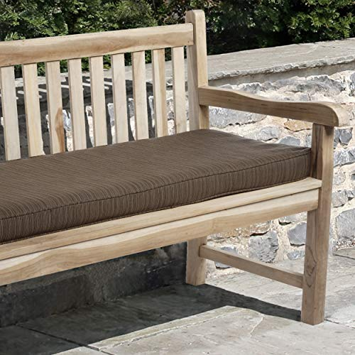 Mozaic AZCS0109 Indoor or Outdoor Sunbrella Bench Cushion with Corded Edges and Tie Backs, 48 inches, Dupione Walnut