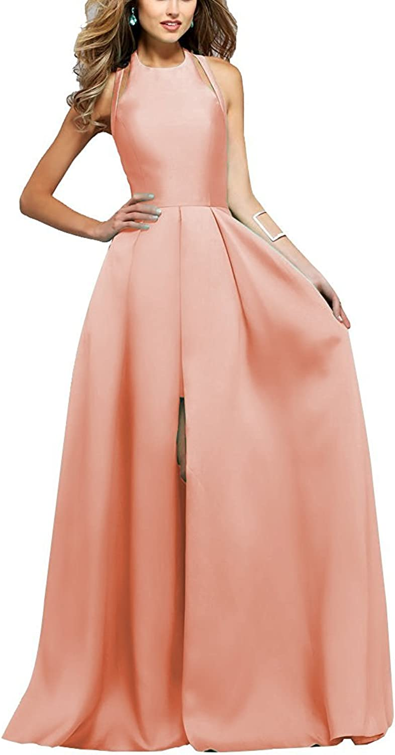 Awishwill Women's Backless Split Long Prom Dress Ladies Fashion Satin Formal Party Gown