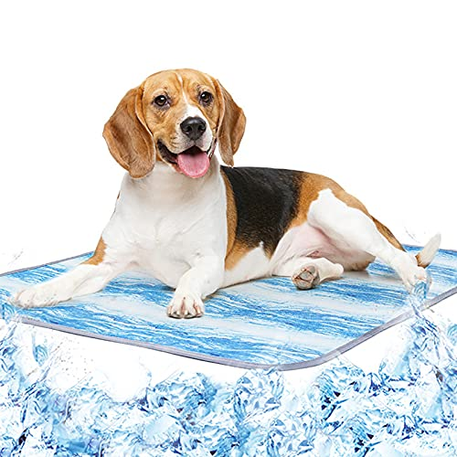 Rvlaugoaa Alfombra Refrescante para Perro Gatos, Almohadilla De Enfriamiento De Seda De Hielo para Mascotas De Verano, Lavable A MáQuina Transpirable, CojíN para Dormir con Enfriamiento AutomáTico
