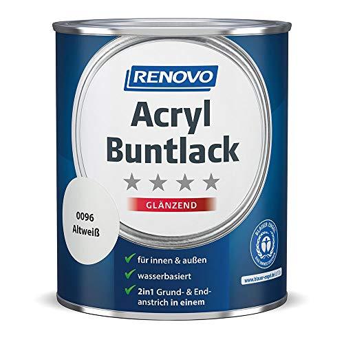 Acryl-Buntlack 2-in-1 750 ml RAL 0096 Altweiß glänzend Renovo