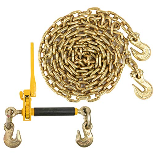 Peerless QuikBinder Plus Ratchet Load Binder and US Cargo Control 1/2 Inch x 20 Foot Grade 70 Chain Set - Easily Secure Heavy Loads to A Truck Or Flatbed Trailer - 11,300 Pound Working Load Limit