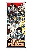 CoolChange Großes Fire Force Rollbild / Kakemono aus Stoff Poster, 100x40cm, Motiv: Shinra Kusakabe & Einheit 8