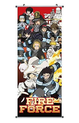 Großes Fire Force Rollbild/Kakemono aus Stoff Poster, 100x40cm, Motiv: Shinra Kusakabe & Einheit 8