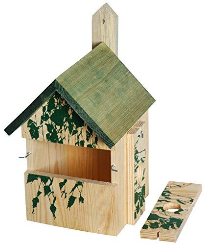 dobar 22159e Dekorativer Nistkasten für Vögel, aus Holz (Kiefer, Massivholz), für Garten, Balkon, 3 variable Einfluglöcher, Motiv