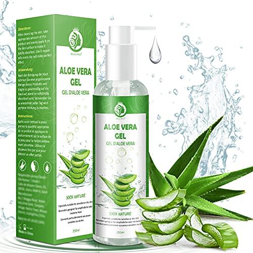 Aloe Vera Gel Bio 100% - für Gesicht, Haare und Körper - Natürliche, beruhigende und pflegende Feuchtigkeitscreme - Ideal für trockene, strapazierte Haut & Sonnenbrand -...