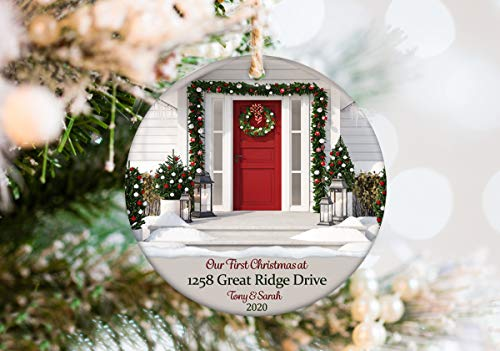 Lplpol New Home Ornament 2020 Personalized with Address and Names - First Christmas in New House Christmas Ornament Makes Great Housewarming Gift