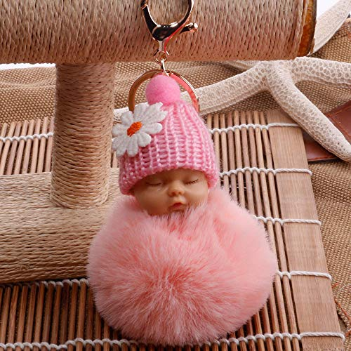 jieGorge Cute Fur Fluffy PomPom Sleeping Baby Doll Key Chains Keyrings Bags Charm Pendant , Keychains , Products for Xmas Day (Pink)
