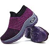 Women's Walking Shoes Sock Sneakers - Mesh Slip On Air Cushion Lady Girls Modern Jazz Dance Easy Shoes Platform Loafers Purple,6.5