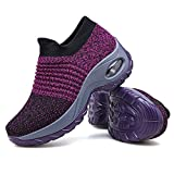 Women's Walking Shoes Sock Sneakers - Mesh Slip On Air Cushion Lady Girls Modern Jazz Dance Easy Shoes Platform Loafers Purple,5.5
