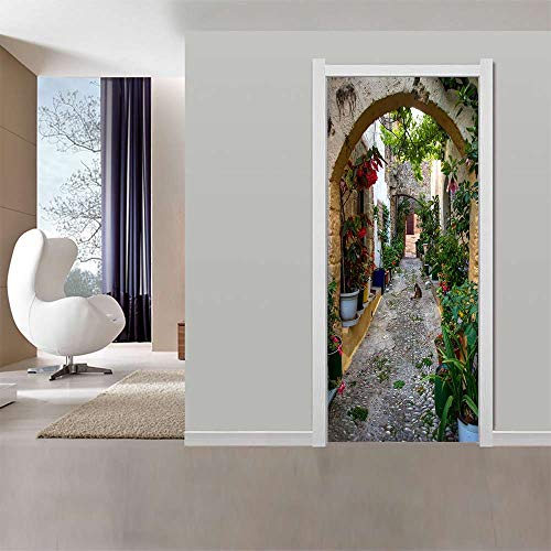 Adhesivo Para Puerta Con Efecto 3D Arco De Piedra Pvc Adhesivo Fotográfico Vinilos Puerta Pegatina Pared Murales Para Cocina Dormitorio Sala De Baño Decorativos 88X200Cm