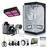BloomGrow 32''x32''x63'' Grow Tent + 4'' Fan Filter Duct Combo + 600W LED Light + Hangers + Hygrometer + Shears + 24 Hour Timer + Trellis Netting Indoor Grow Tent Complete Kit