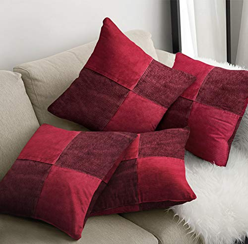 4 Piece Set Cushion Cover plus Inner Pads Decorative Pillowcases for Sofa Couch, Bedroom accessories - Sale Price, 43cm x 43cm or 56cm x 56cm (17' x 17' or 22' x 22') (Corduroy Red, Large 56 x 56)
