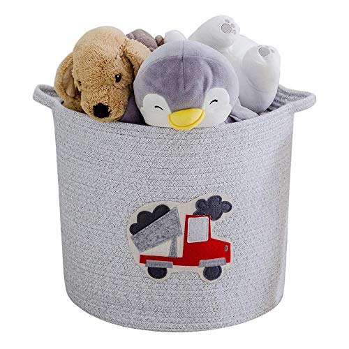 YLWHZOVE Large Cotton Rope Storage Woven Cartoon Pattern Laundry Basket for Bedroom, Living Room, Toys, Clothes, Towels, 14' X 14' X 16'