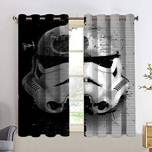 Cortinas opacas con ojales St-ar W-a-rs enmascarados Stormtroopers Startrooper Cortinas bloqueadoras de luz para dormitorio, decoración del hogar, cortinas de ventana de 63 x 72 cm