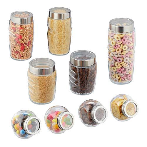 Relaxdays Vorratsgläser, 9er Set, Glasbehälter mit Deckel, Vorratsdosenset 1000 ml, 800 ml, 600 ml, 200 ml, transparent
