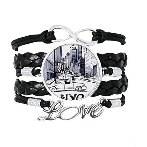 DIYthinker NYC Love New York City Latina Paisaje Pulsera de Amor Adorno de Cuero Torcido Hilo de muñeca