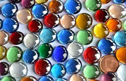 150 g mini szklane nuggets 10-15 mm kolorowe ok. 70-80 szt. dekoracyjne kamienie mozaikowe kamienie szklane