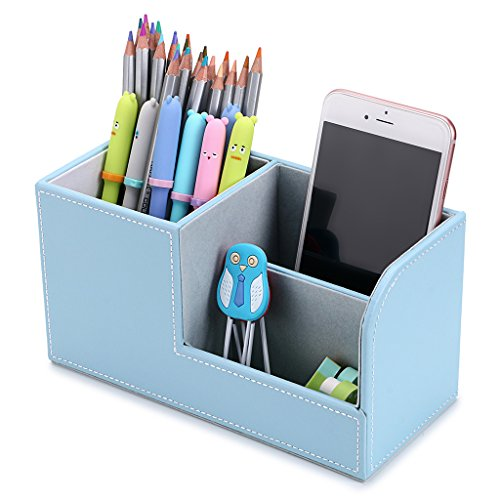 BTSKY Desk Pen Pencil Holder Leather Multi-function Desk Stationery Organizer Storage Box Pen/Pencil, Cell phone, Business Name Cards Remote Control Holder Office Home Accessories Organizer(blue)