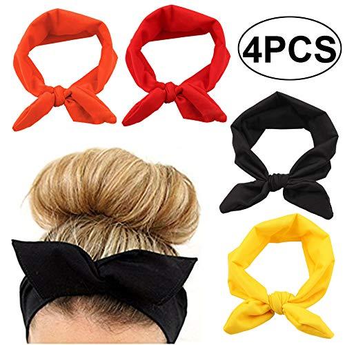 Yuyeran 4PCS Women Elastic Bow Hairband Adult Turban Knotted Bunny Ears Headband Headdress Hair Accessories Headwrap