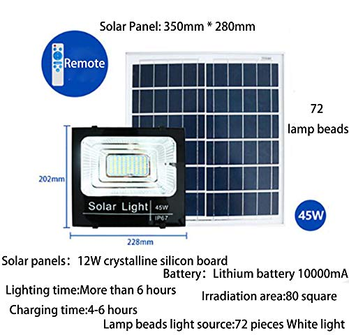 JDD Outdoor Solar schijnwerper High Power LED inductieverlichting patio licht intelligente lichtbesturing IP67 waterdicht 3,2 V voor tuin hek patio patio poort (7 energieopties), 45W