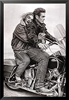 Buyartforless Framed James Dean & Marilyn Monroe (Motorcycle) 24x36 Movie Art Print Poster Romantic