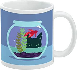 Black Cat Staring at Betta Fish Bowl White Mug