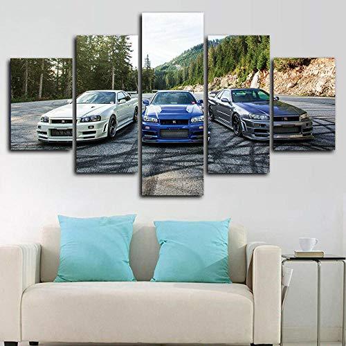 runtooer Bilder Dekorative Malerei Spray Malerei Leinwand Malerei 5 Stück Modern Nissan Skyline GT R V Spec Leinwand Wandbild, Möbel Art Deco, Rahmen