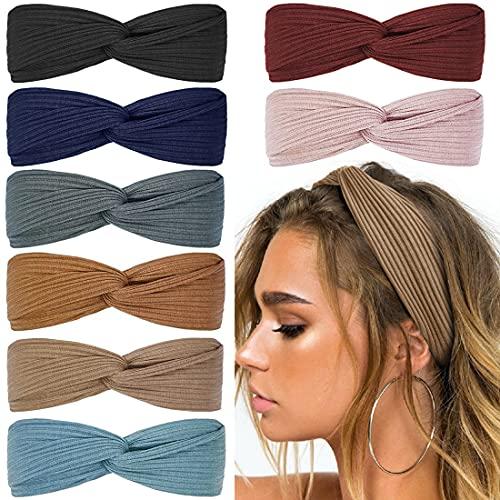 Huachi Knotted Headbands for Women Boho Elastic Fashion Hair Bands Cute Wrap Headbands