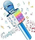Microfono Karaoke, Wireless Bluetooth LED Flash Microfono con Altoparlante, Portatile Karaoke Player Compatibile con Dispositivi Android e iOS per KTV di Casa/Festa/Canto per Bambini (Blu)