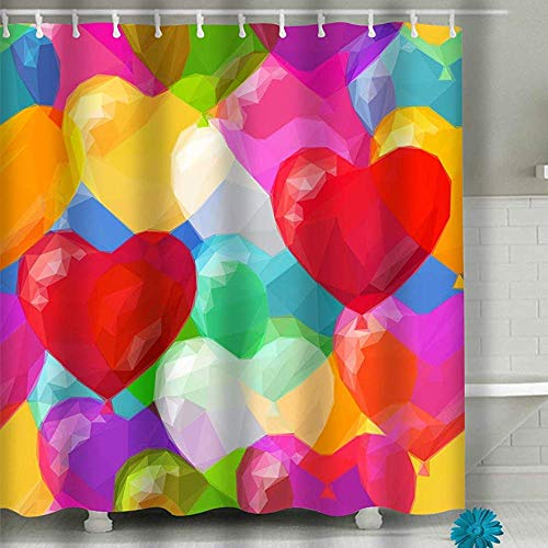 abby-shop Ballon Herzen Low Poly Muster herzförmige Luftballons Colorf Duschvorhang Set,