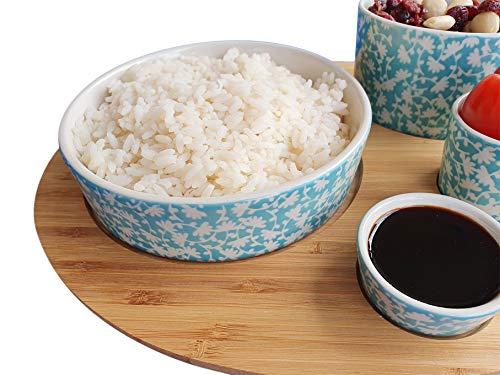 LA VITA VIVA 4 Asiatische Servierschalen im blau-Creme Farbton - Schalen Set aus hochwertigem Keramik - inklusive Tablett aus echtem Bambusholz