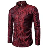 Allthemen Camisa de cachemira para hombre de seda jacquard camisas de vestir de manga larga con cuello abotonado casual camisas de esmoquin