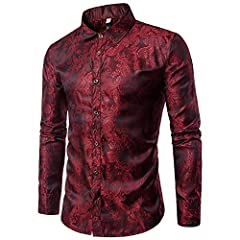 Mens paisley shirt long sleeve dress shirt button down casual slim fit shirts MATERIAL: Cotton Polyester Blended - High quality smooth fabric makes you feel comfortable and breathable when wearing; Healthy dyeing provides the fastness of the shirts M...