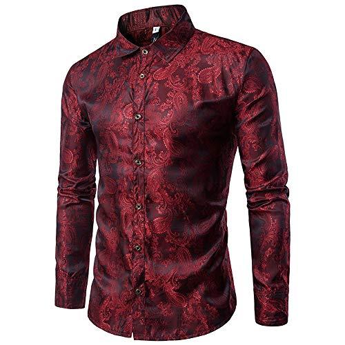 Allthemen Herren Paisley Hemd Langarm Jacquard Hemd für Männer Regular Fit Stickerei Freizeithemd Weinrot XL