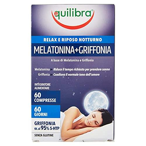 Equilibra Integratori Alimentari, Melatonina + Griffonia, Integratore a Base di Melatonina e Griffonia, Contribuisce a Ridurre il Tempo di Addormentamento, Favorisce il Rilassamento, 60 Compresse