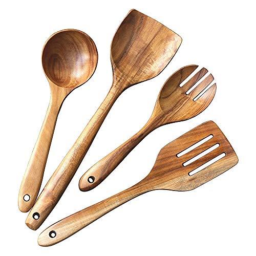 PQZATX 4 Pcs Wooden Utensils,Kitchen Cooking Utensil for Non Stick,Teak Wood Spoons Spatula Ladle Colander,Kitchen Tools