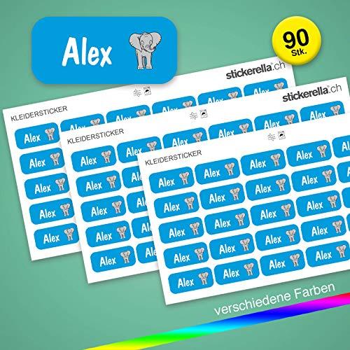 Stickerella - 90 Namensaufkleber für Kinder - Namensetiketten für Schule und Kindergarten, personalisierbar, permanent, wasserfest (11 x 26 mm) (hellblau)