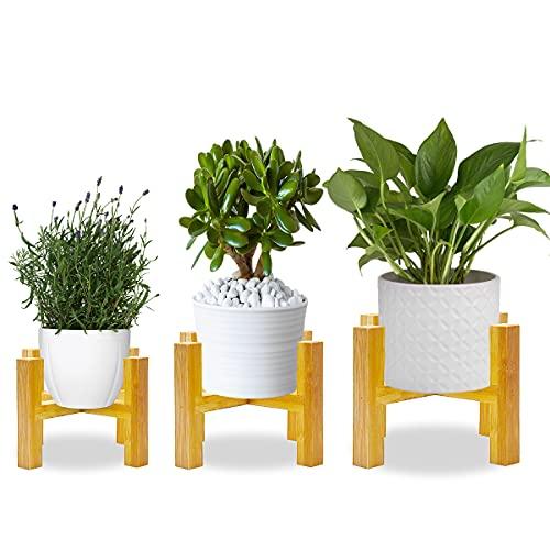 AKOFIC Soporte para Plantas, 3 Piezas Moderno Soporte para Exhibición de Macetas de Madera, Soporte...
