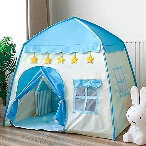 Blu Tenda Da Gioco Per Bambini con Luci a Stella a LED,Tenda Gioco de Castello A Cinque Punte Dei Cartoni Animati Tenda Bimbiper Interni,130x100x130cm