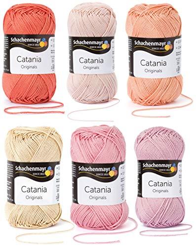 6x50 Gramm Schachenmayr Woll-Set Baumwollgarn Catania zum Stricken und Häkeln inkl. detallierter Anleitung für EIN Meerschweinchen (Rosa Beige Mix)