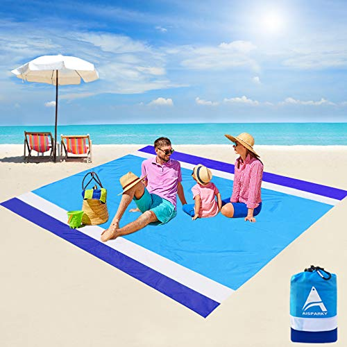 AISPARKY Beach Blanket Oversized 82' X79' Sand Proof Beach Mat Outdoor Picnic Mat for Travel, Camping, Hiking