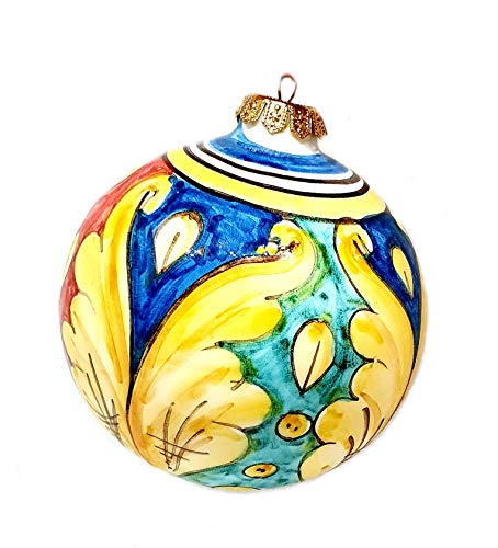 sicilia bedda - Palle di Natale in Ceramica di CALTAGIRONE - Interamente realizzate a Mano - Pezzi Unici ed Eleganti (8x6 Cm, Maioliche di Caltagirone)