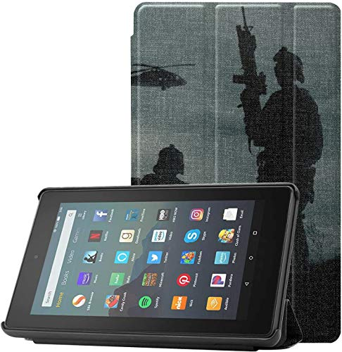 Cover TabletCaseProtector Military On Sunset Sky GirlsKindleCase for Fire 7 Tablet (9th Generation, 2019 Release) Lightweight with Auto Sleep/Wake
