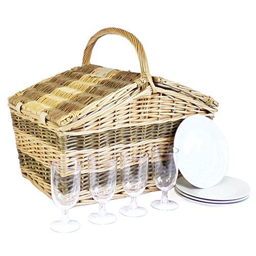 Cesta de picnic de mimbre tradicional 'Swancote' para 4 personas con color crema manta de picnic - idea ideal del regalo para el cumpleaños, boda, jubilación