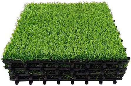 18PCS Artificial Grass Turf Interlocking Green Grass Mat with Buckles 17 5 Sqft Synthetic Square product image