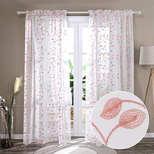 Deconovo Rod Pocket Embroidered Pink Sheer Curtains 84 Inches Long with Leaves Set of 2 Window Sheer Curtain Panel Pair for Bedroom - 2 Panels, Each 52x84 in
