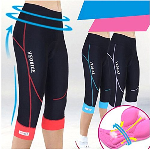 Damen Fahrradhose Radlerhose Mit Coolmax Sitzpolster Damen Radhose 3/4 Komfort Slim Fit - 4