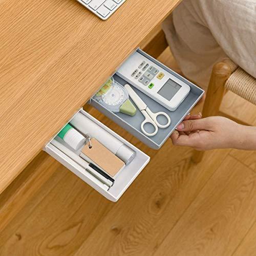 KOVIIOL Under Desk Drawer, Large Capacity Pop-Up Recycled Expandable Hiding Self Adhesive Stick On Secret Drawer For Desk Pencil Drawer Slide Out Organizer And Storage For Desktop 2 Pack